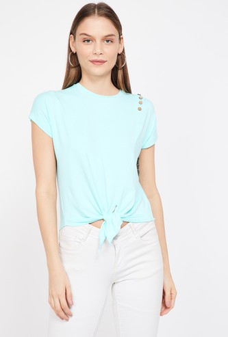 GINGER Solid Cap Sleeves Top