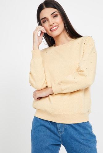 MADAME Embellished Regular Fit Drop-Shoulder Sweatshirt