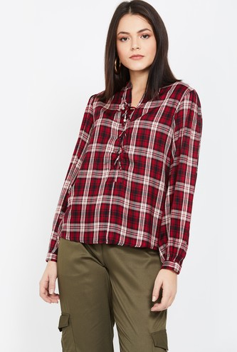 MS.TAKEN Checked Tie-Up Detail Top