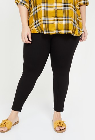 NEXUS Women Plus-Size Women Solid Ankle-Length Treggings