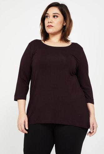 NEXUS Women Plus-Size Solid Round Neck Top