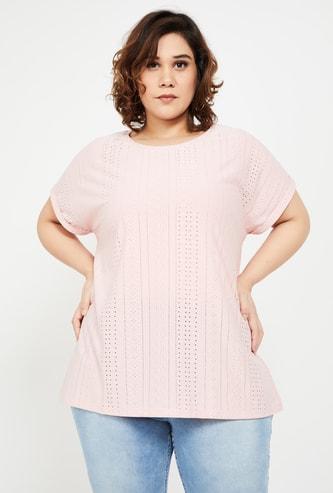 NEXUS Women Plus-Size Women Textured Round Neck Top