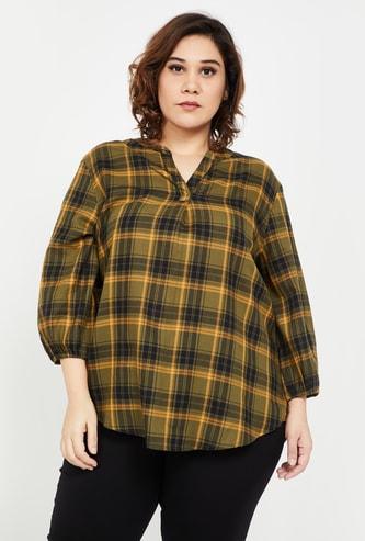 NEXUS Women Plus-Size Checked Three-quarter Sleeves Casual Shirt