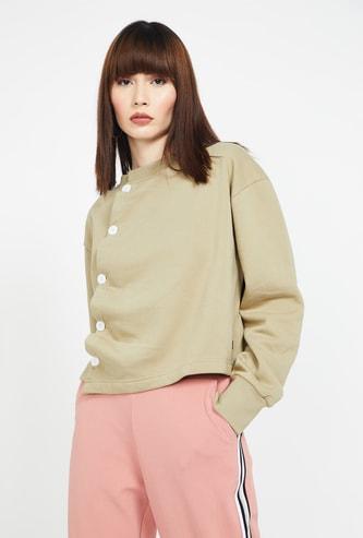 CAMPUS SUTRA Drop-Shoulder Sweatshirt with Asymmetrical Placket