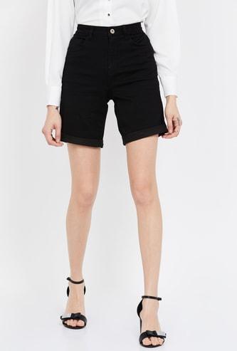 GINGER Solid Slim Denim Shorts with Upturned Hems