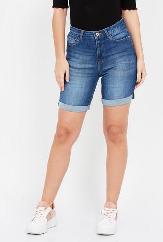 GINGER Stonewashed Slim Fit Denim Shorts