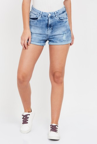 GINGER Dark Washed Distressed Slim Denim Shorts