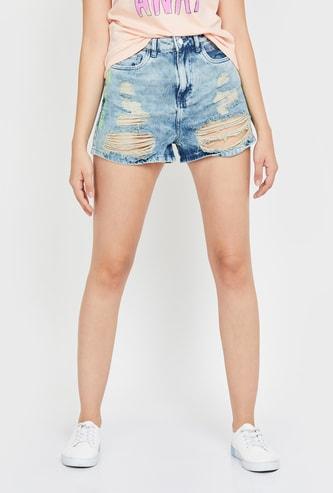 GINGER Women Heavily Washed Distressed Slim Denim Shorts