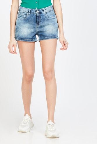 GINGER Stonewashed Denim Shorts