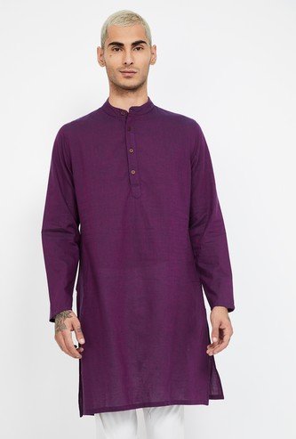 MELANGE Solid Band Collar Kurta