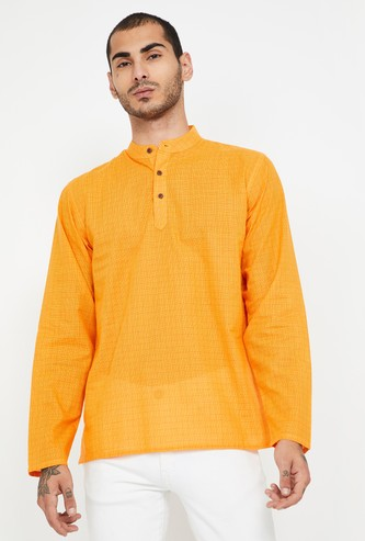 MELANGE Textured Full Sleeves Kurta