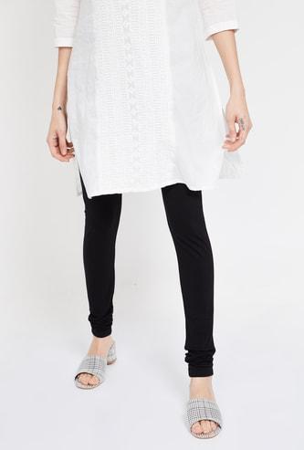 MELANGE Solid Knitted Churidar