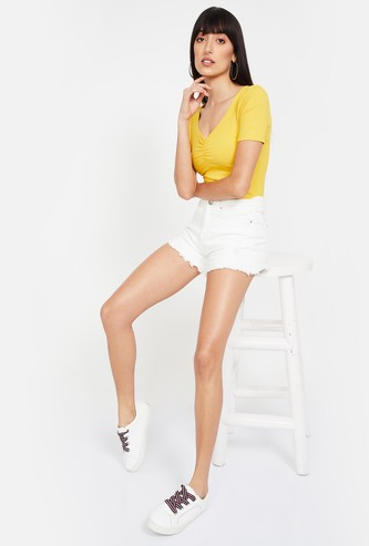 GINGER Textured Short Sleeves Top
