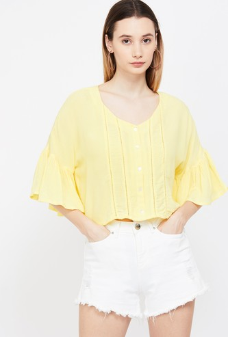 GINGER Bell Sleeves Solid Top with Lace Insets