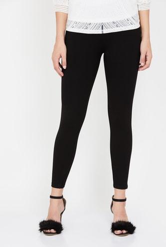 GINGER Solid High-Waist Skinny Fit Treggings