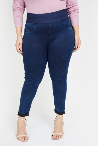NEXUS Women Plus-Size Women Stonewashed Skinny Fit Jeggings