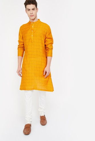 MELANGE Men Windowpane Check Regular Fit Long Kurta