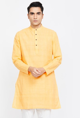 MELANGE Solid Regular Fit Band Collar Kurta