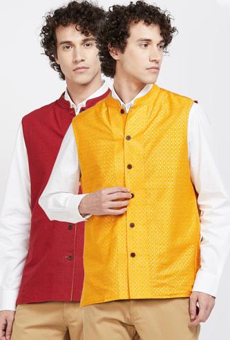 MELANGE Solid Sleeveless Ethnic Jacket- Set of 2