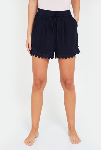 GINGER Women Solid Lace Hemmed Shorts with Drawstring Waist