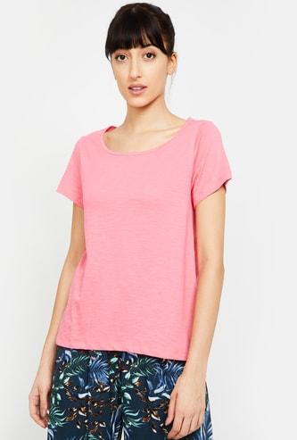 GINGER Women Solid Short Sleeves T-shirt