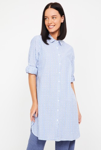 GINGER Roll-Up Sleeves Striped Lounge Shirt