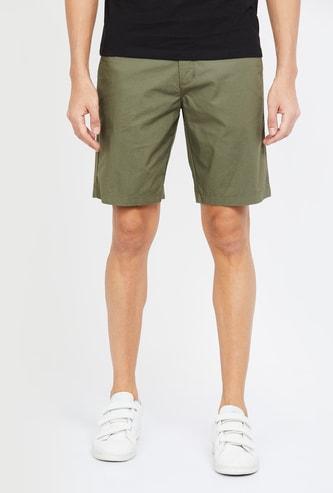 CODE Solid Regular Fit Shorts