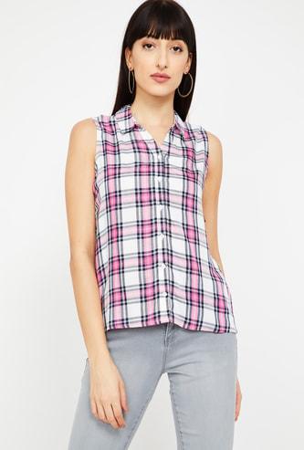 FAME FOREVER Women Checked Sleeveless Shirt