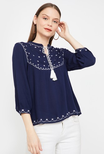 FAME FOREVER Embroidered Top with Tasselled Tie-Up