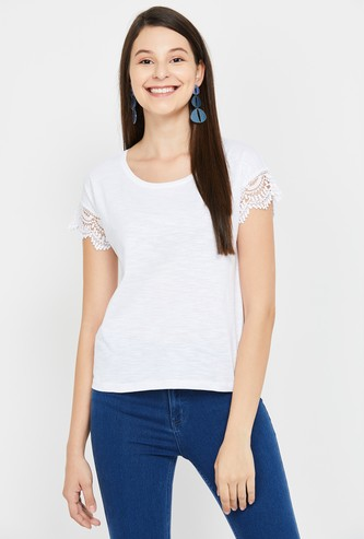 FAME FOREVER Women Slub T-shirt with Scalloped Lace Trim