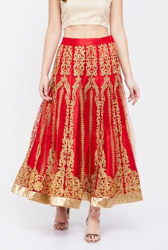 JUNIPER Embroidered Layered Maxi Skirt
