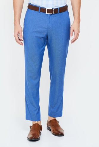 CODE Men Solid Slim Tapered Trousers