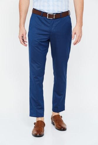 CODE Men Solid Slim Fit Formal Trousers