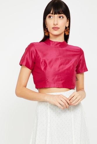 DE MOZA Women Solid Short Sleeves Crop Top