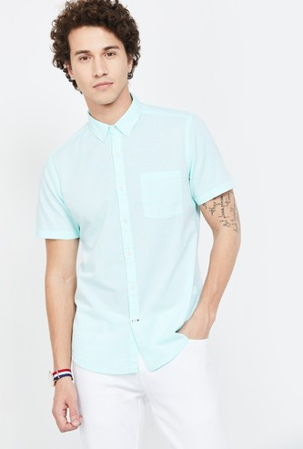 FAME FOREVER Solid Short Sleeves Slim Fit Casual Shirt