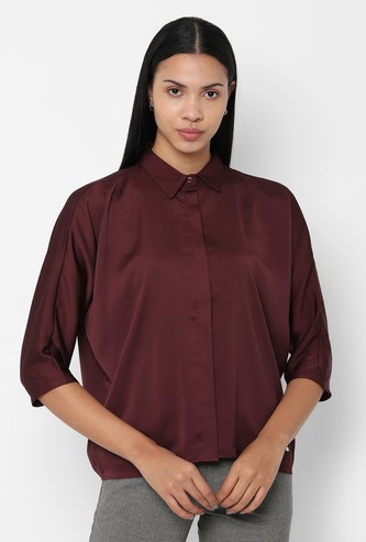 ALLEN SOLLY Solid Three-Quarter Sleeves Shirt