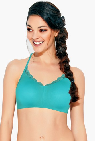 ENAMOR Non-Padded Non-Wired Balconette Bra with Lace Trim