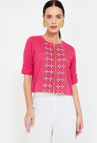 COLOUR ME Embroidered Top with Roll-Up Sleeves