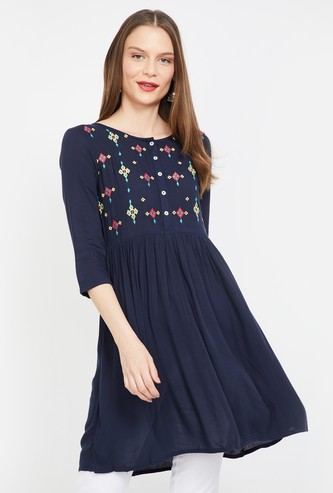 COLOUR ME Embroidered Flared Tunic with Button Placket