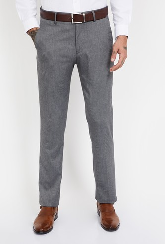 LOUIS PHILIPPE Textured Slim Tapered Flat-Front Formal Trousers