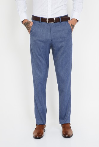 LOUIS PHILIPPE Texutured Slim Tapered Flat-Front Formal Trousers