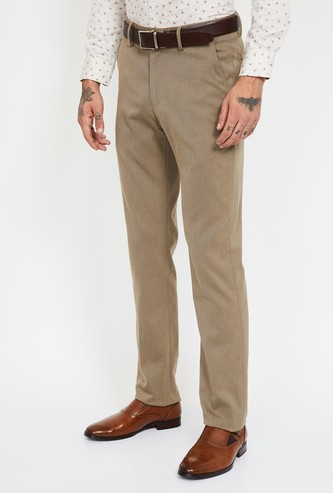 LOUIS PHILIPPE Textured Slim Fit Flat-Front Trousers
