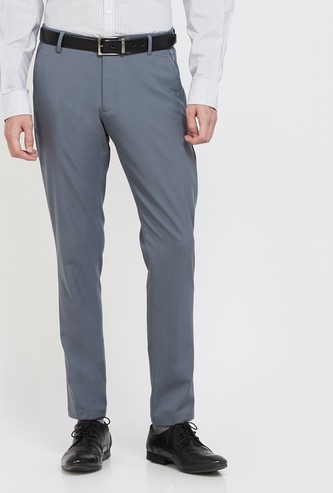 LOUIS PHILIPPE ATH WORK Solid Slim Tapered Trousers