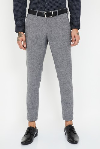 LOUIS PHILIPPE ATH WORK Textured Slim Tapered Trousers