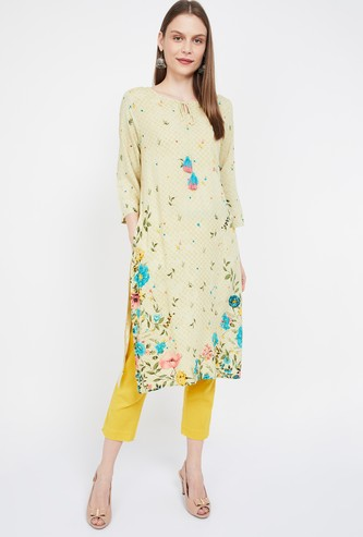 MELANGE Floral Print Three-quarter Sleeves Kurta