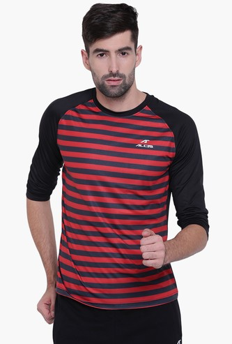 ALCIS Men Striped Raglan Full Sleeves Regular Fit Training T-shirt