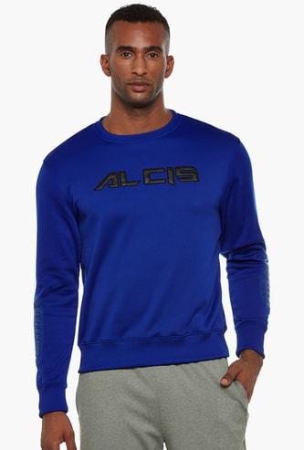 ALCIS Men Typographic Embroidered Full Sleeves Sweatshirt