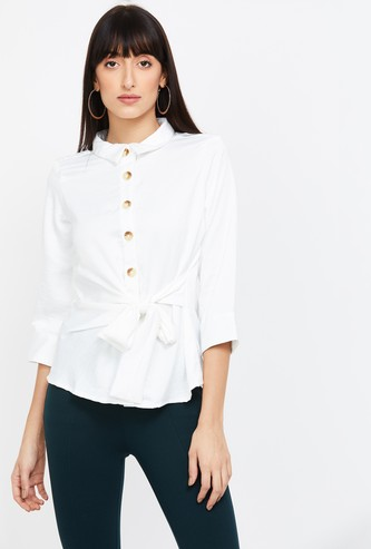 AND Solid Shirt with Tie-Up Detail