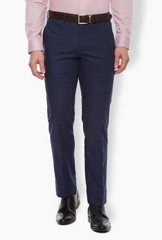 VAN HEUSEN Checked Slim Tapered Flat-Front Trousers