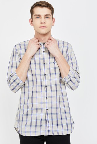 ALLEN SOLLY Checked Full Sleeves Slim Fit Casual Shirt